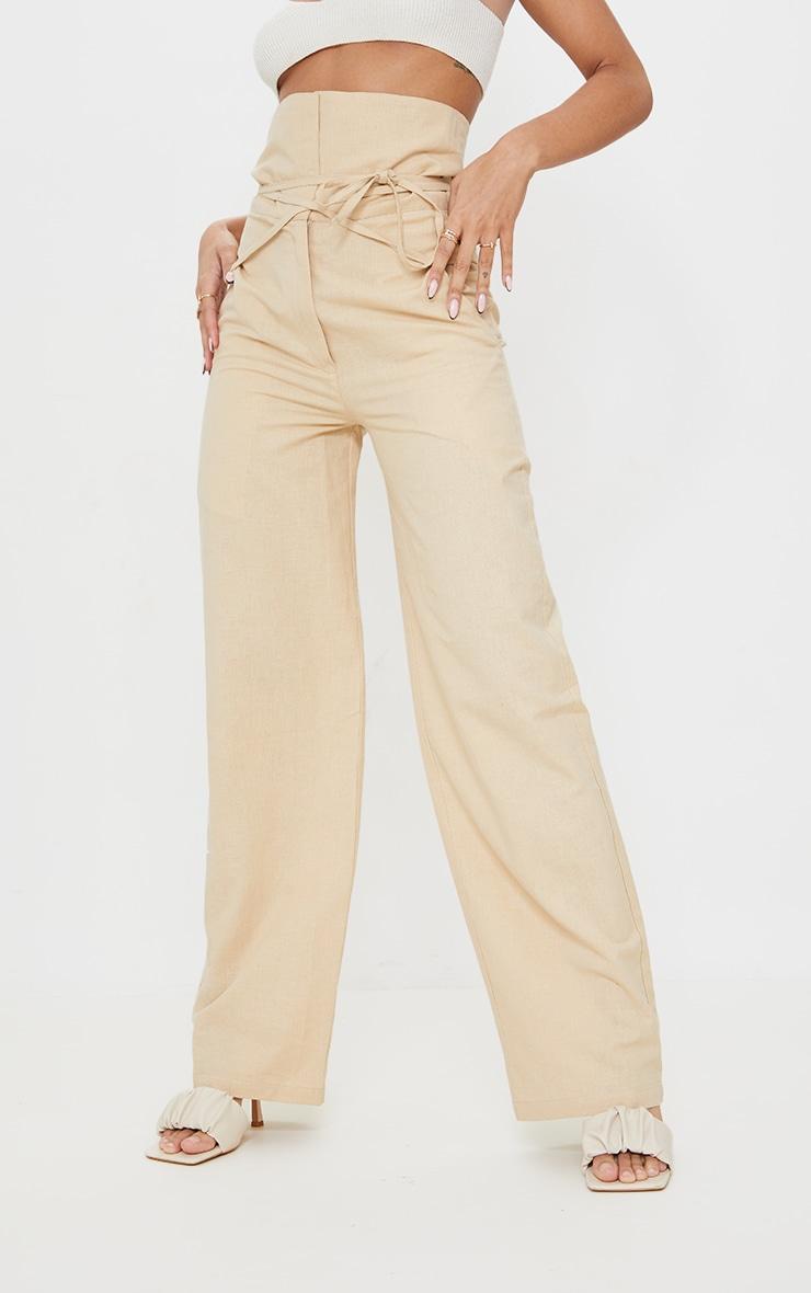 Stone High Waisted Linen Wide Leg Pants 2