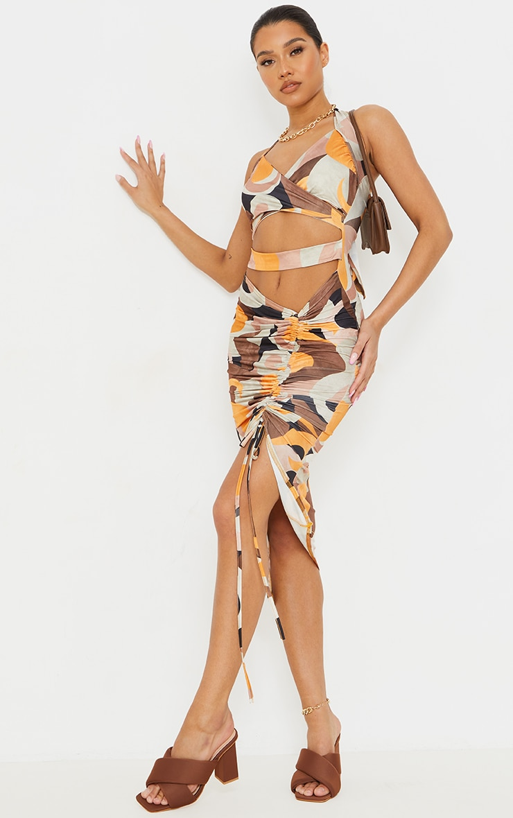 Multi Abstract Print Slinky Halterneck Cut Out Ruched Skirt Midi Dress 3