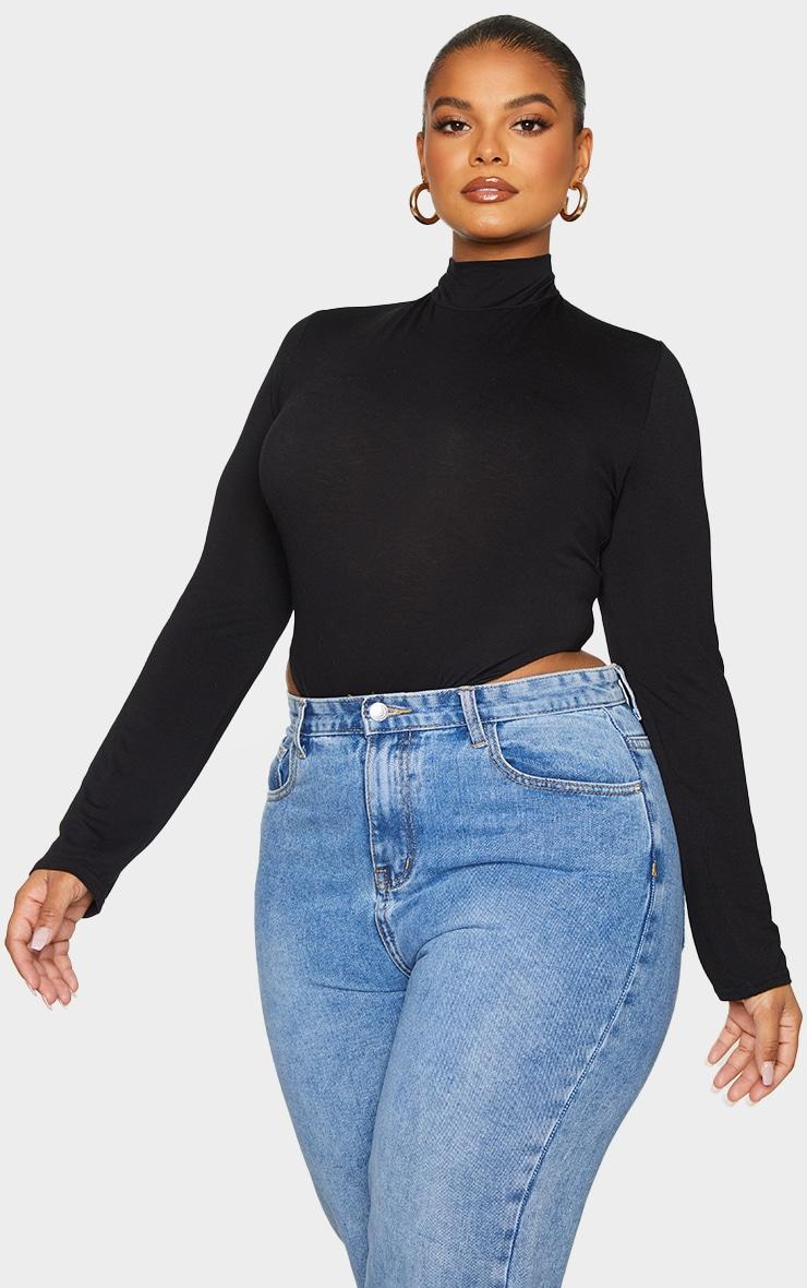 Plus Black Plain High Neck Jersey Bodysuit 1