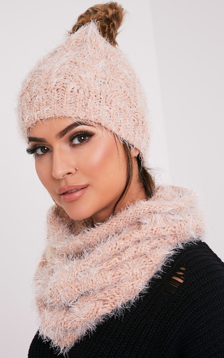 Two Pack Blush Knitted Beanie and Snood 2