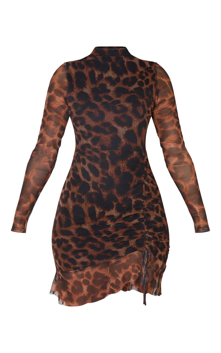 Brown Leopard Print Mesh Long Sleeve High Neck Ruched Bodycon Dress 3