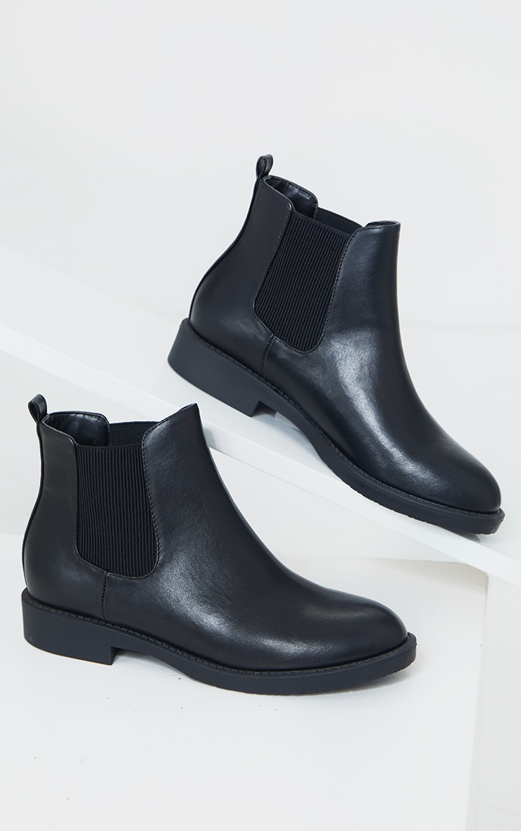 Black Faux Leather Basic Chelsea Ankle Boots 3