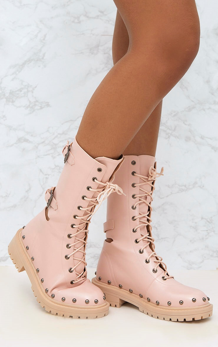 Baby Pink Chunky Hard Wear Lace Up Ankle Boots 1
