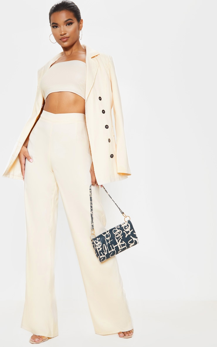 Stone High Waisted Wide Leg Suit Trouser  by Prettylittlething