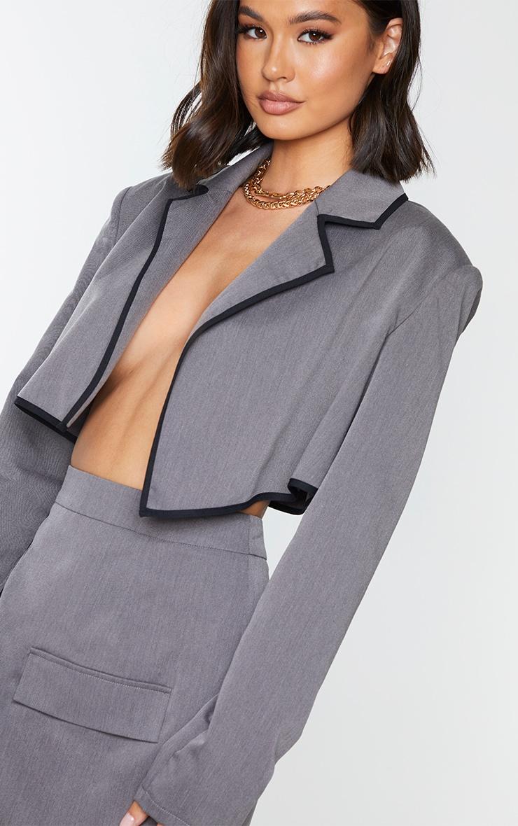 Charcoal Grey Woven Contrast Binding Oversized Cropped Blazer 4