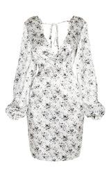 8e70ba7d1f6d7 Tall White Floral Satin Wrap Tie Back Detail Dress | PrettyLittleThing