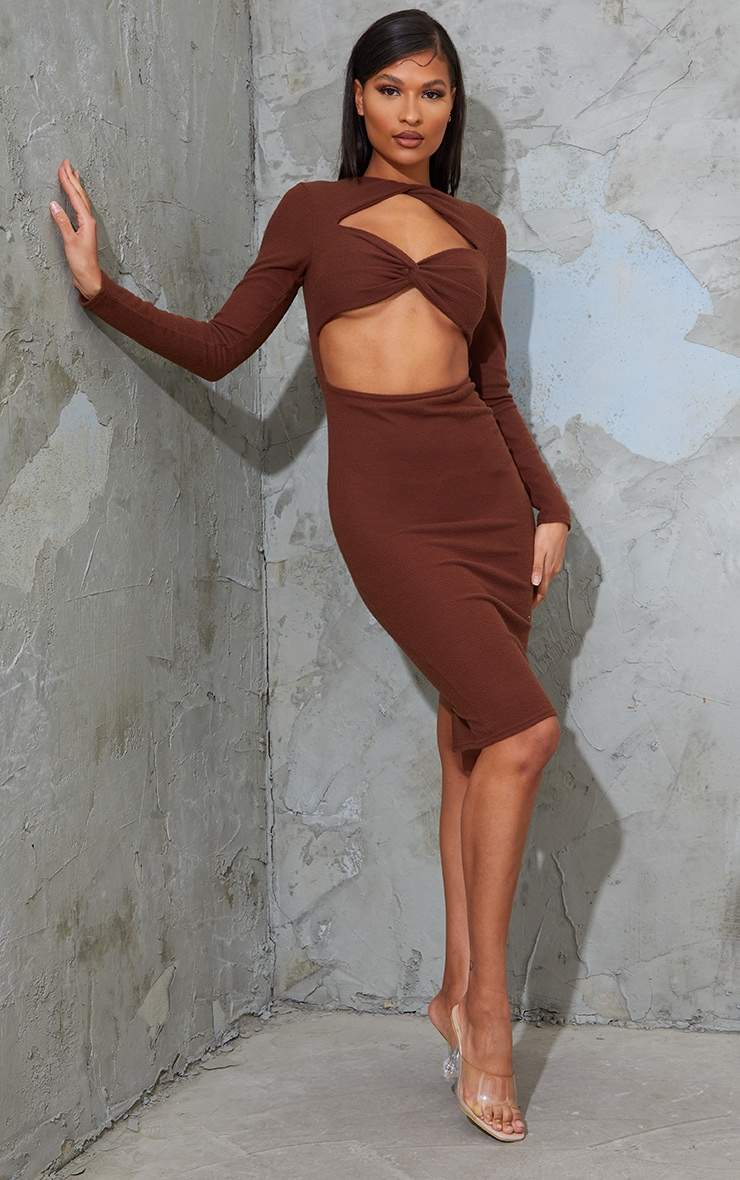 Chocolate Brushed Rib Twist Detail Cut Out Midi Dress 3