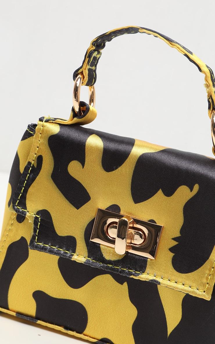 Yellow Leopard Print Micro Mini Tote Bag 3