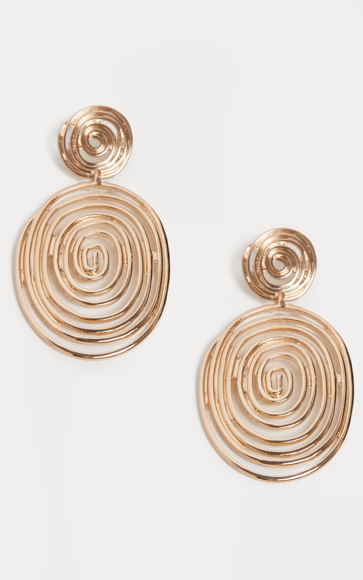 Gold Swirl Textured Disc Drop Earrings 2