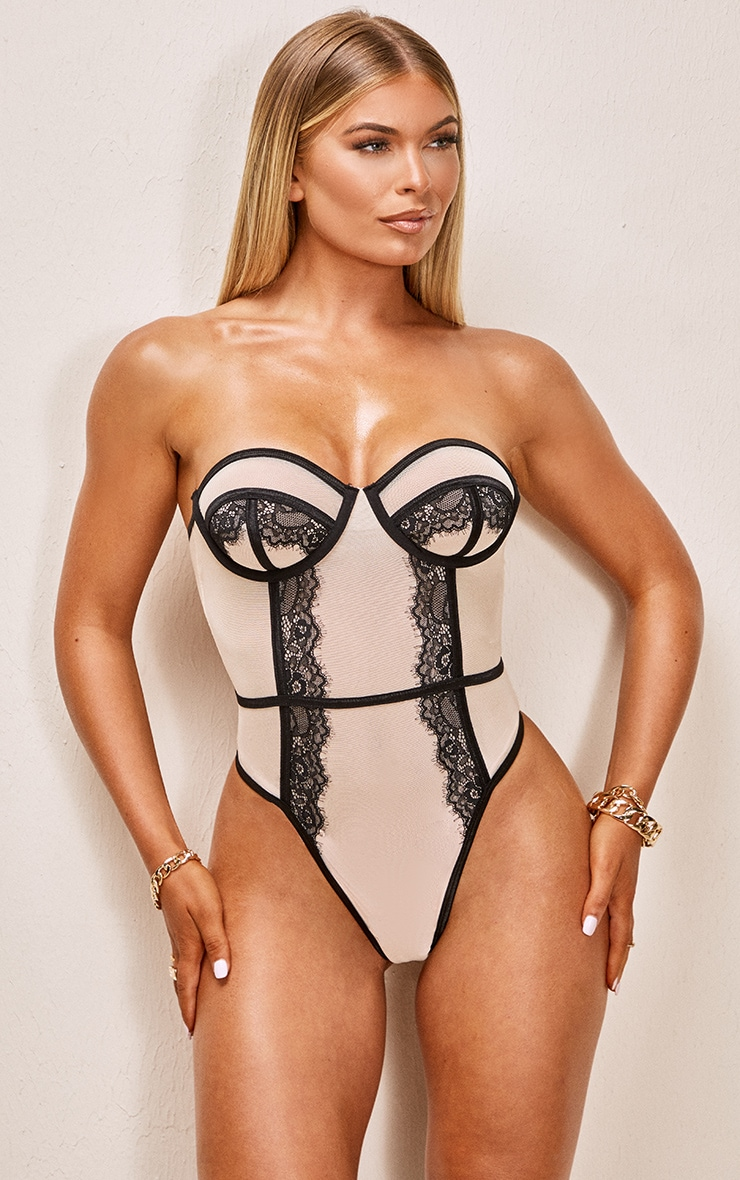Nude Contrast Mesh And Lace Underwired Body 2
