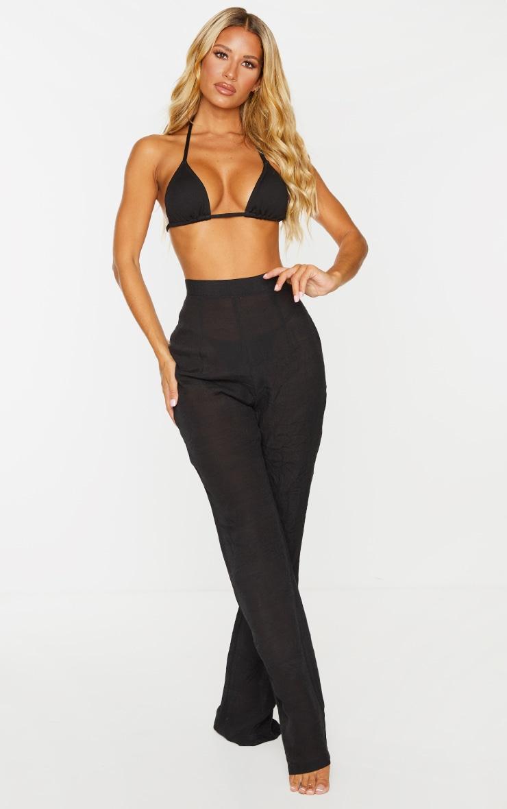 Black Wide Leg Linen Look Beach Pants 1