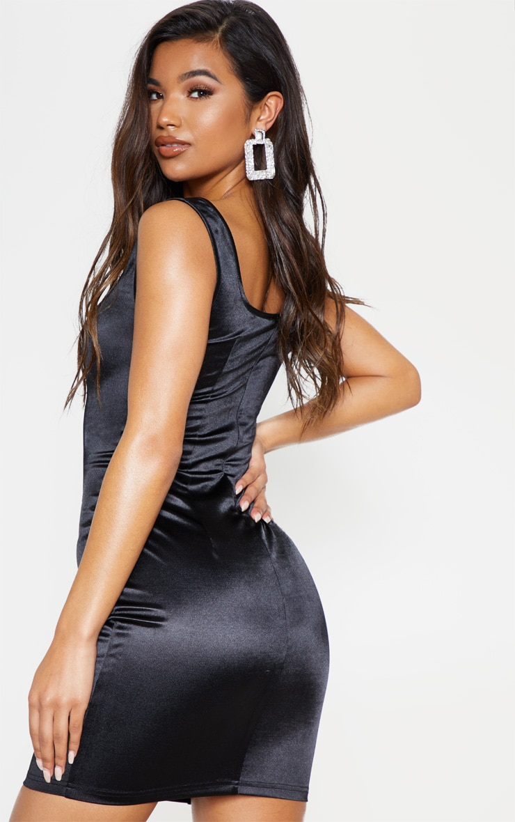Black Lace Up Square Neck Bodycon Dress 3