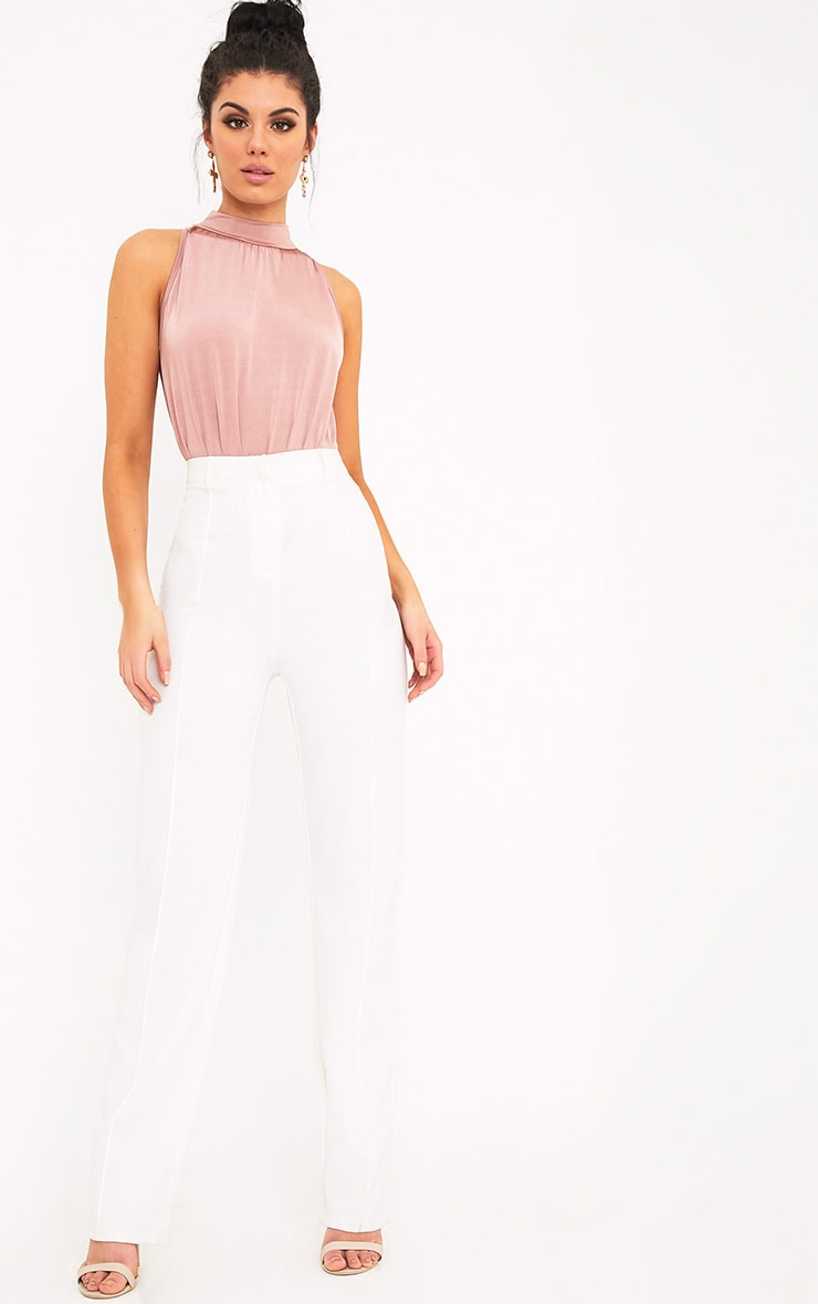 Laura Pink Slinky Shimmer High Neck Thong Bodysuit 6