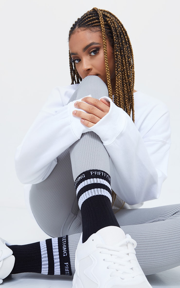 PRETTYLITTLETHING Black With White Striped Socks 1