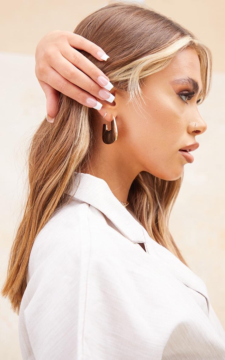 Gold Oval Small Hoop Earrings 3