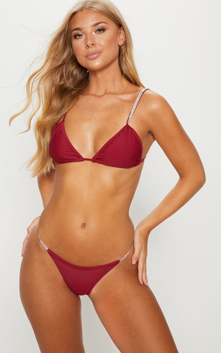 Burgundy Diamante Strap Bikini Top 1