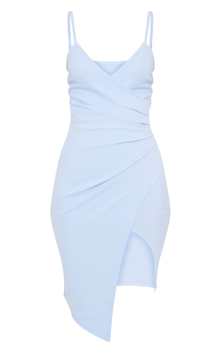 Lauriell Dusty Blue Wrap Front Crepe Midi Dress 3