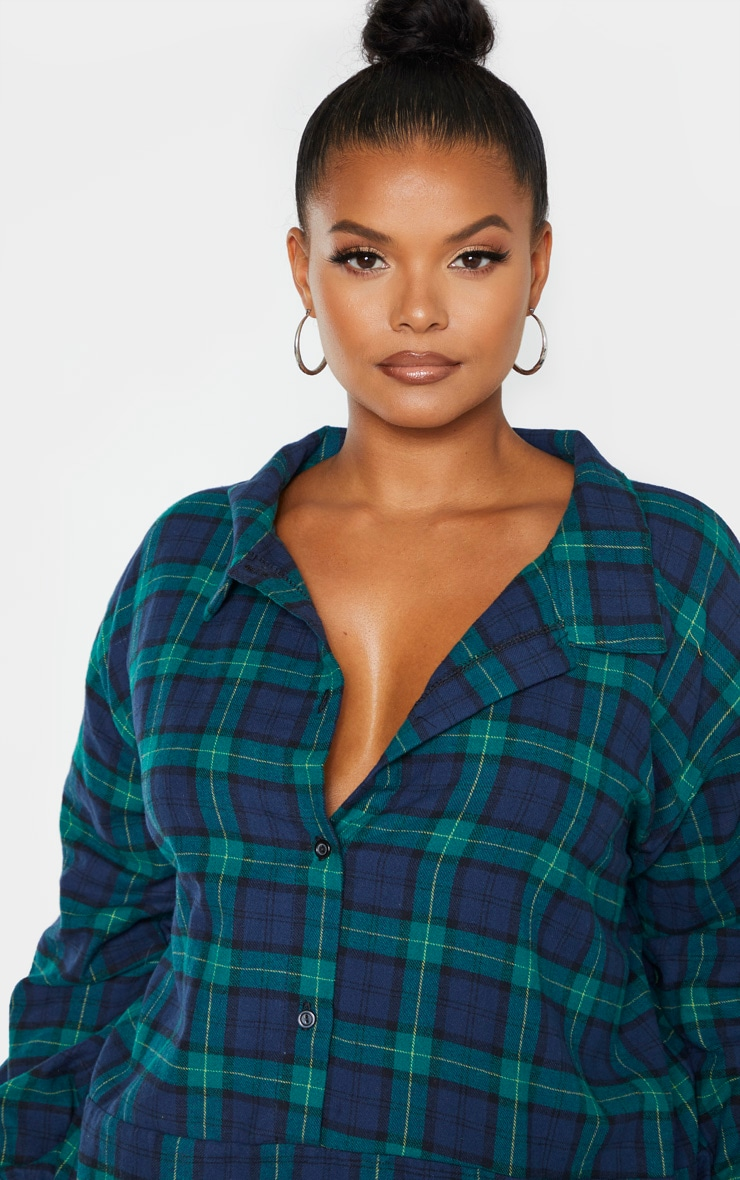 Plus Green Oversized Check Shirt Dress  5