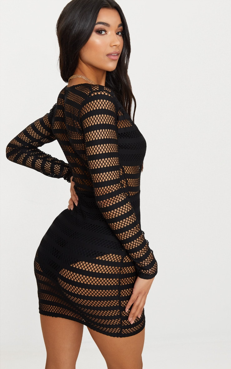 Black Stripe Mesh Panel Bodycon Dress 2