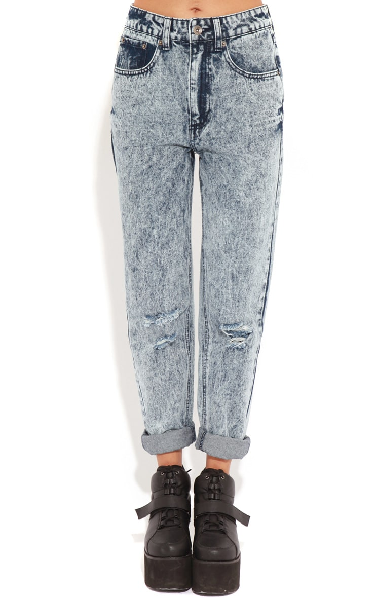 Frankie Acid Wash Ripped Mom Jeans 3