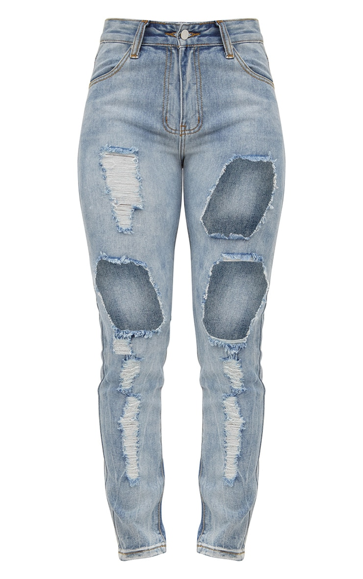 Light Wash Front & Back Distressed Rip Mom Jean 3