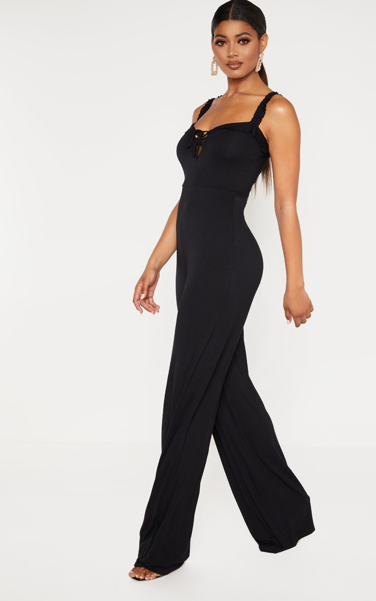 Tall Black Wide Leg Jumpsuit 4