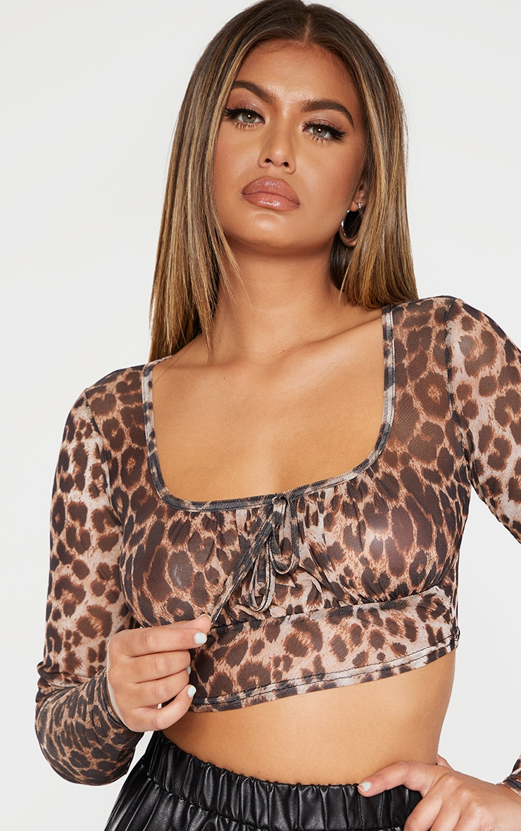 Leopard Print Mesh Tie Front Long Sleeve Crop Top 5