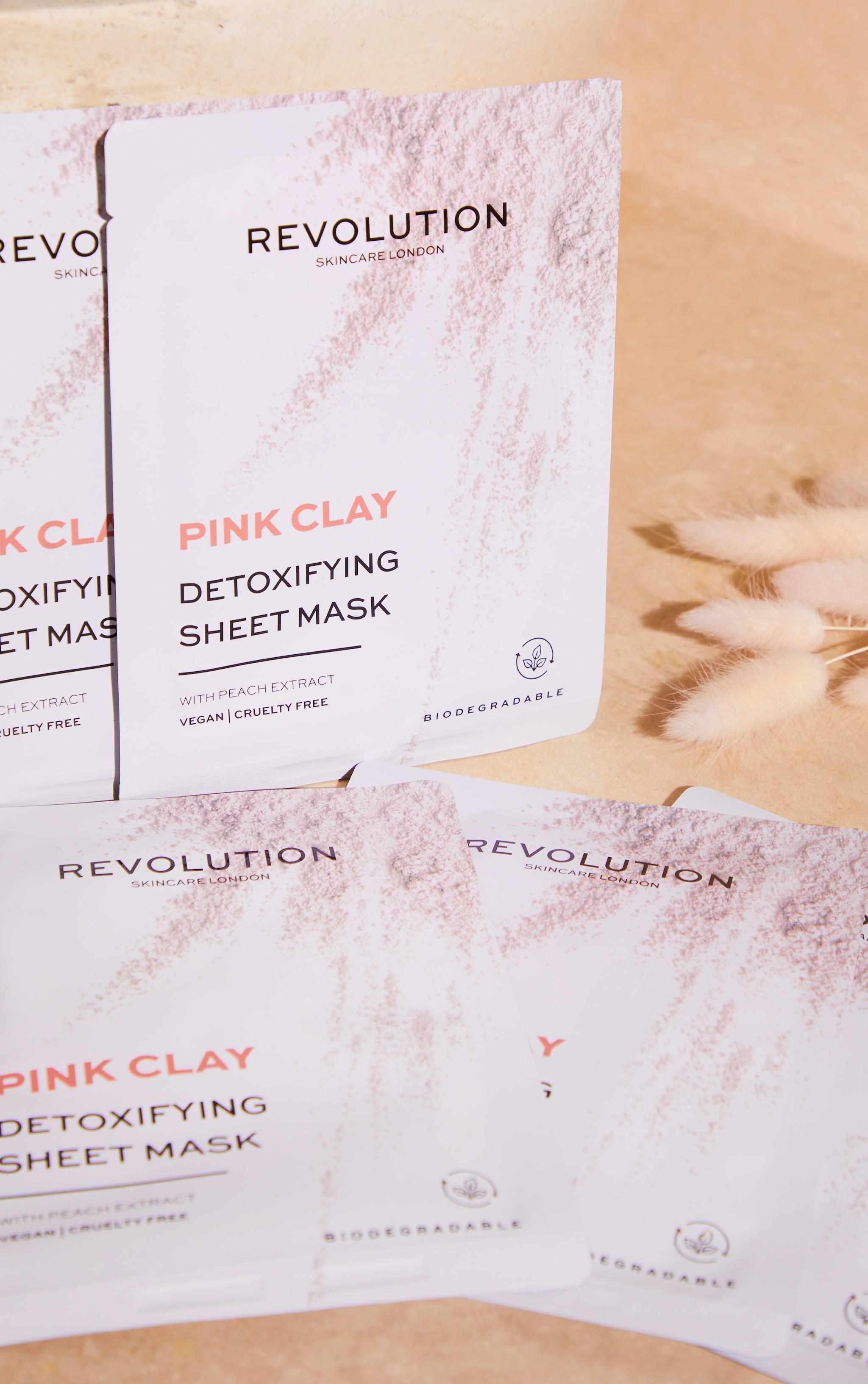 Revolution Skincare Biodegradable Detoxifying Pink Clay Sheet Mask Set 4