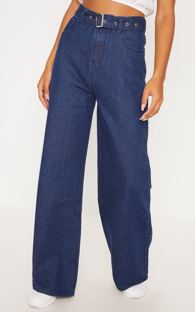 Dark Wash Belted Wide Leg Jeans  2