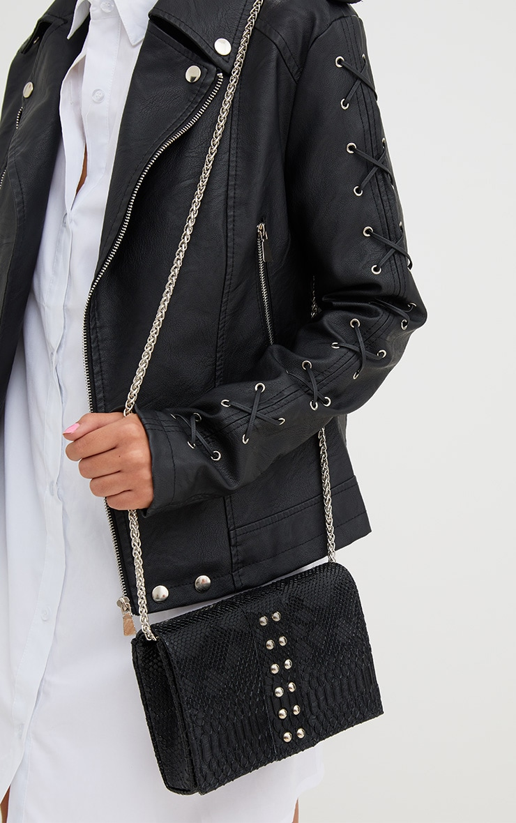 Black Snakeskin Studded Shoulder Bag 1