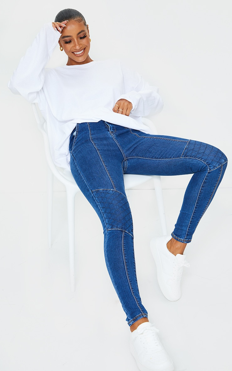 Dark Blue Wash Denim Biker Jeans 1