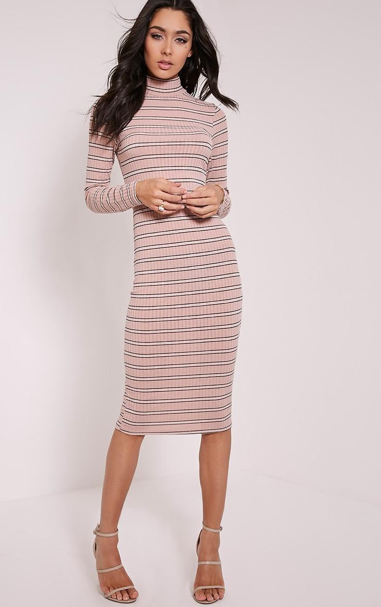 Neeta Pink Stripe High Neck Midi Dress 1