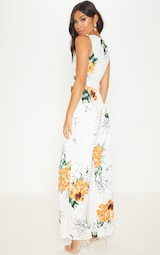 6ac068ae485 White Floral Cross Front Jumpsuit image 2