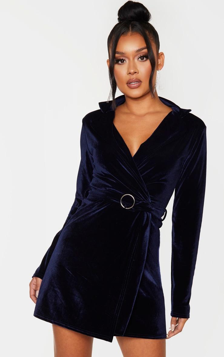 Navy Velvet Ring Belt Blazer Style Bodycon Dress 1