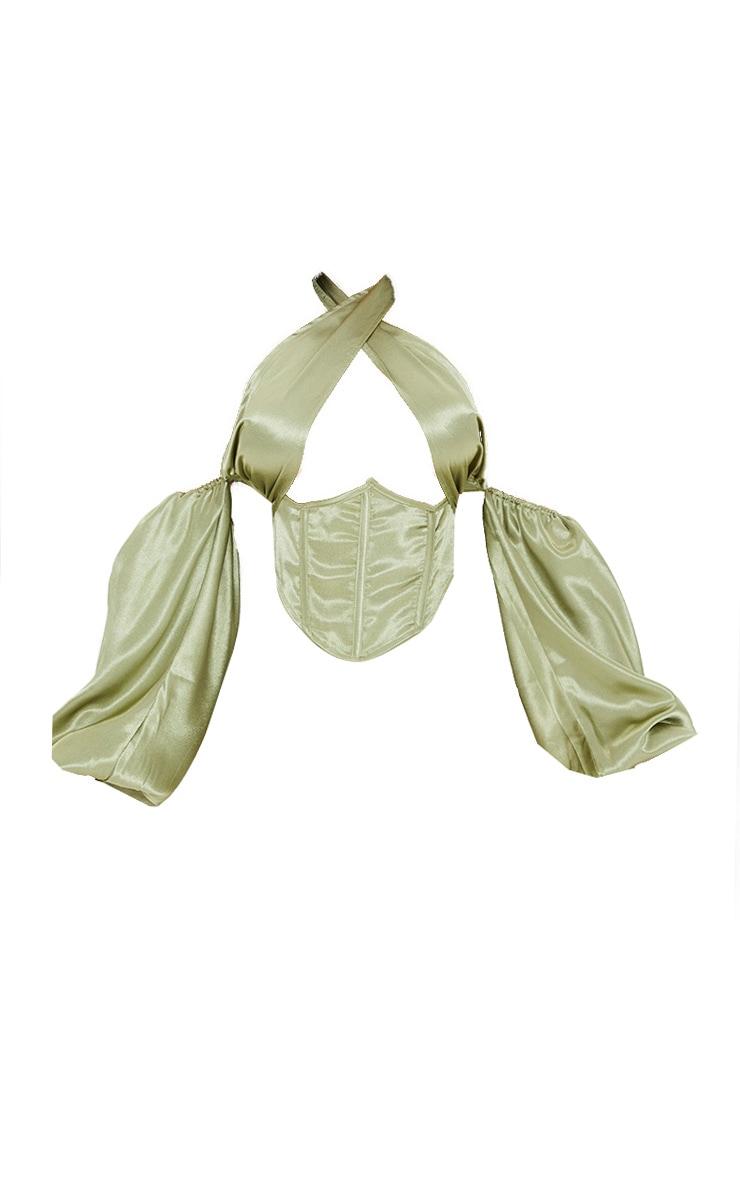 Olive Satin Cross Front Underbust Cold Shoulder Halterneck Boned Dip Hem Corset 5