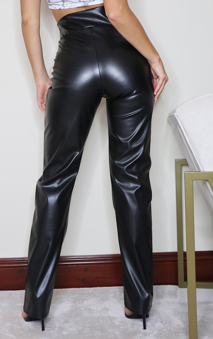 Black Faux Leather V Waist Pants 3