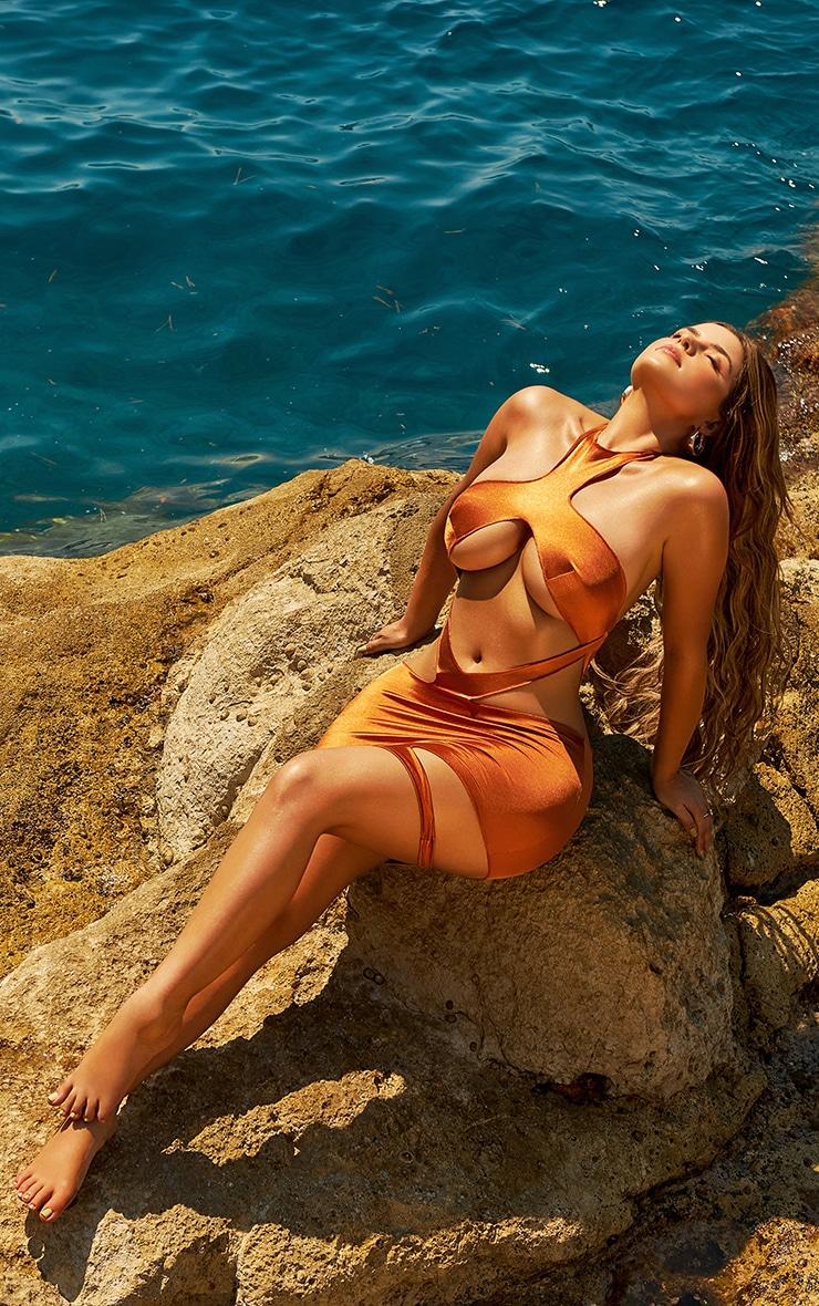 Shape Bronze Disco High Neck Cut Out Detail Bodycon Dress