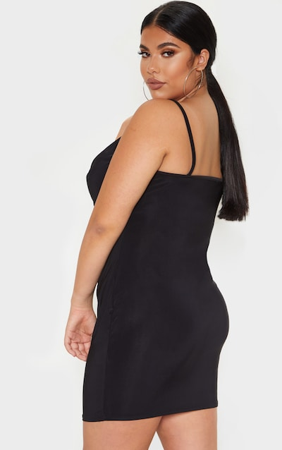Plus Black Slinky Cowl Neck Bodycon Dress