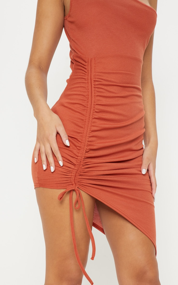 Rust Rib One Shoulder Ruched Bodycon Dress 5