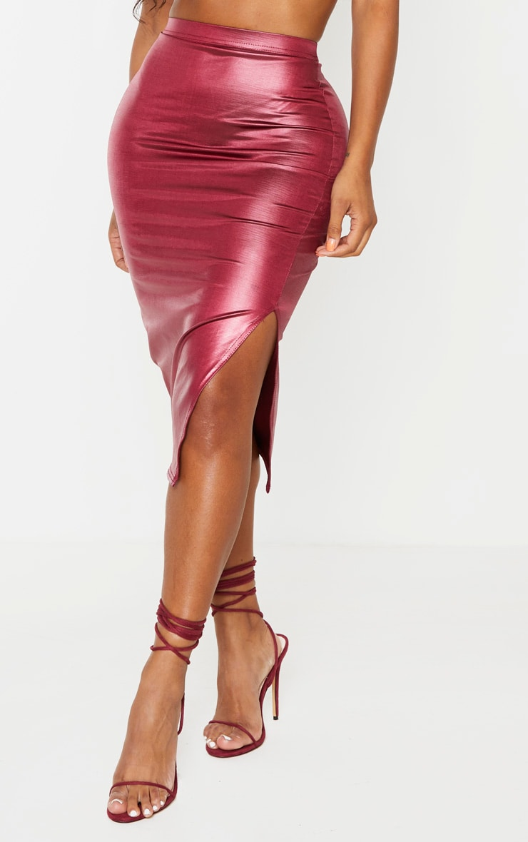 Shape Burgundy Metallic Slinky Slit Front Midi Skirt 2