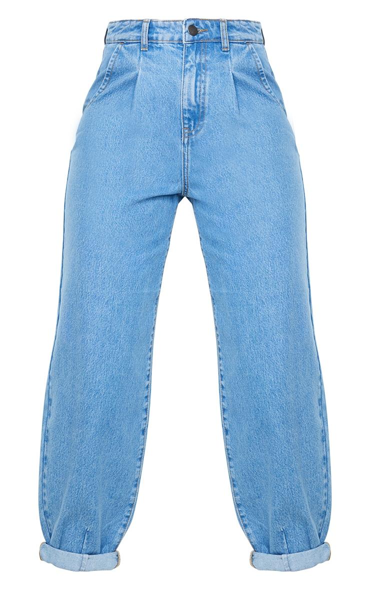 Light Blue Wash Seam Front Balloon Jeans 5