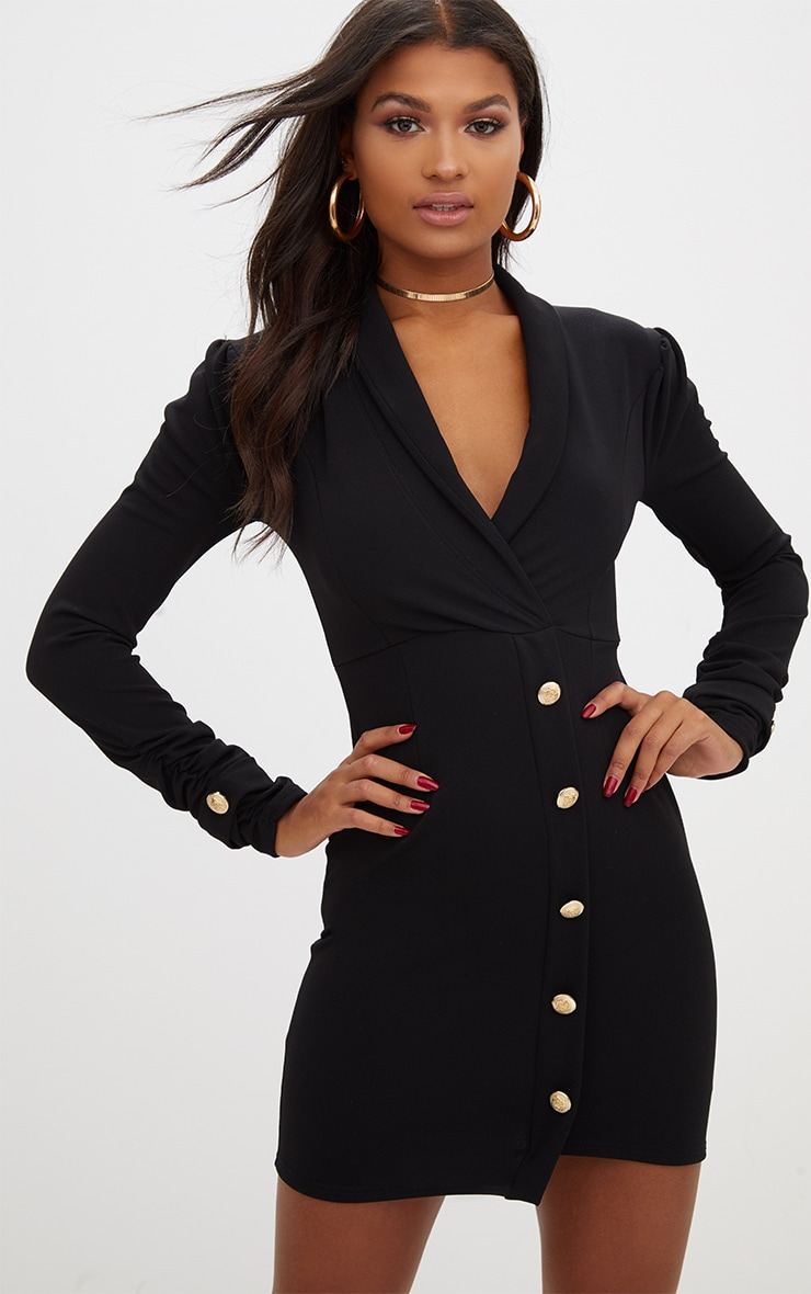 Black Gold Button Ruched Sleeve Blazer Dress 1