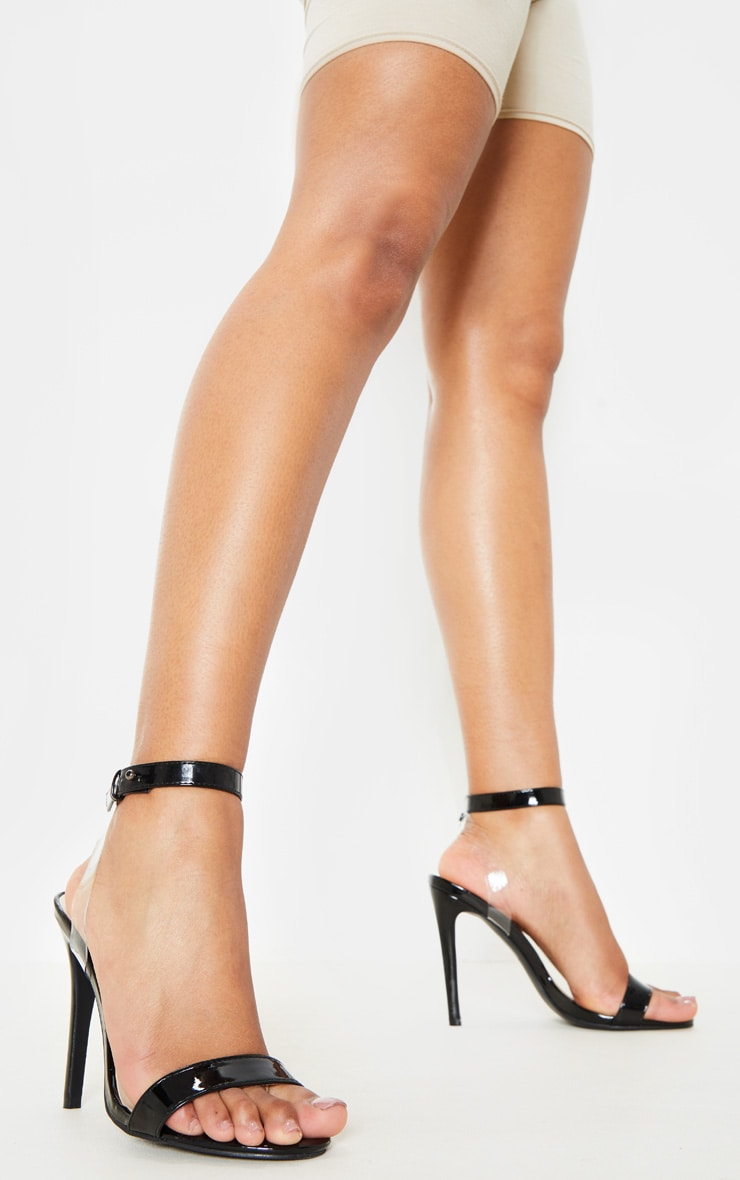 Black Clear Heel Strappy Sandal 1