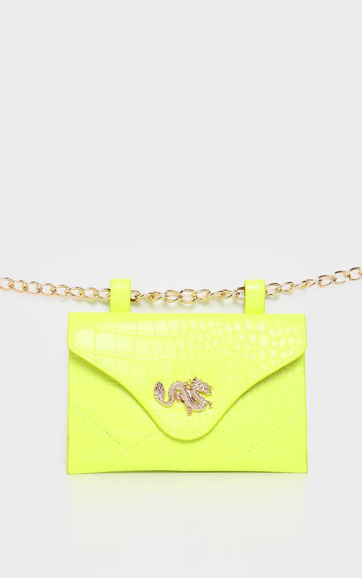 Neon Yellow Dragon Chain Belted Bum Bag 2