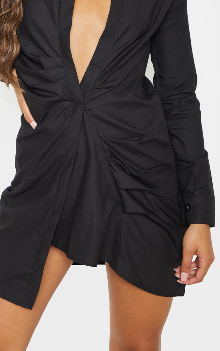 Black Ruched Front Shirt Dress 5