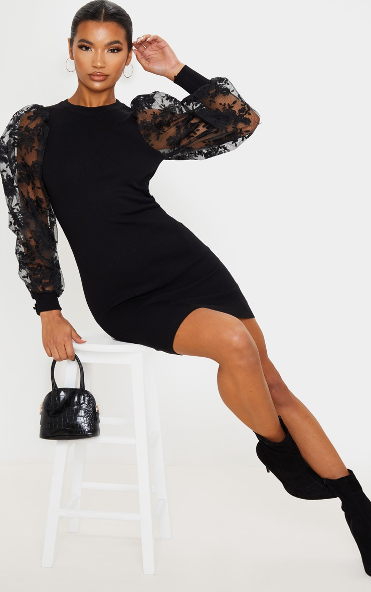 Black Embroidered Mesh Sleeve Knitted Dress 4