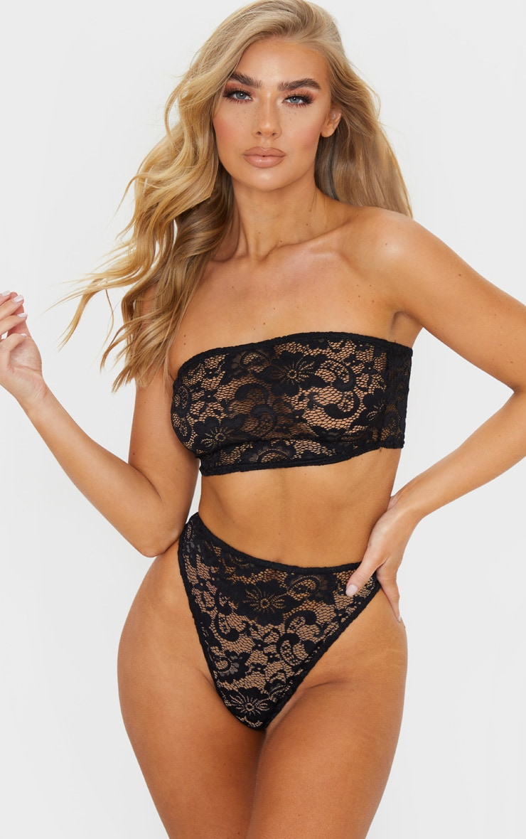 Black Basic Lace Bandeau Lingerie Set 1