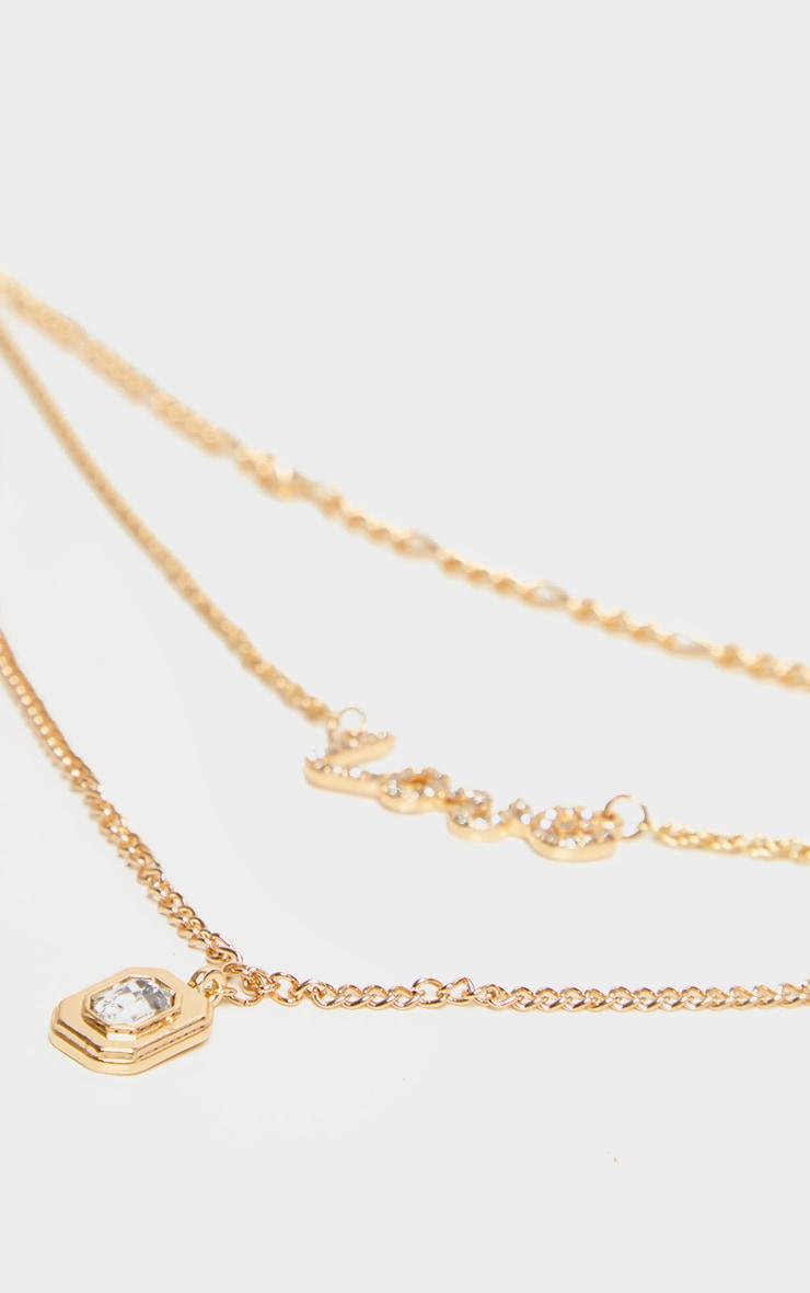 Gold Love Diamante Multi Layered Necklace 4