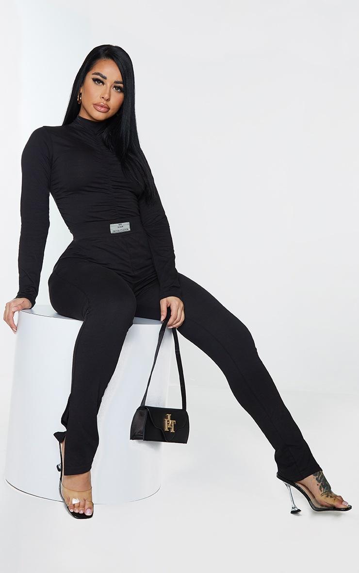 PRETTYLITTLETHING Shape Black New Season Ruched Bodysuit 3