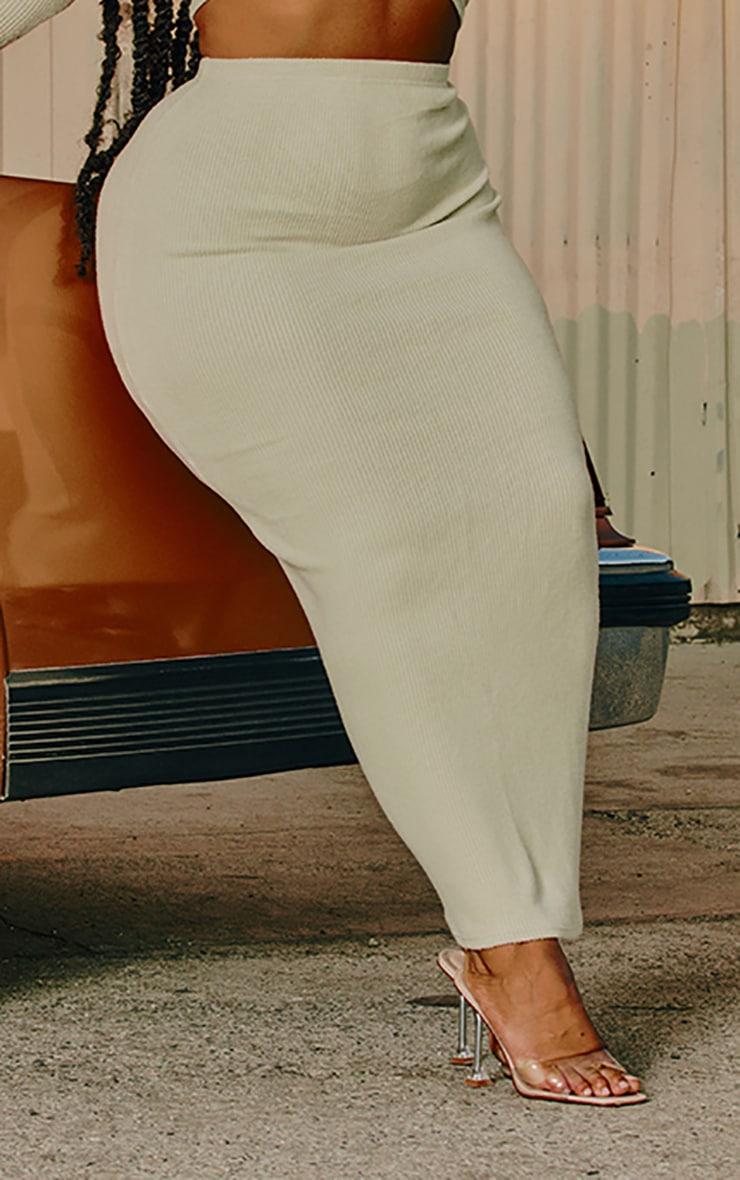 Plus Sage Green Brushed Rib Midaxi Skirt 2